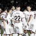Los jugadores del Albacete celebran el gol de Rey Manaj contra el Numancia | Fotografía: LaLiga.