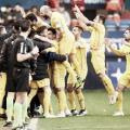 Los jugadores del Alcorcón celebrando el primer gol del partido. Foto: LaLiga1|2|3