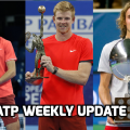 Karen Khachanov (left), Kyle Edmund (centre) and Stefanos Tsitsipas (right) all had a big week on tour. Photos: Kremlin Cup (Khachanov), European Open (Edmund), Soren Andersson/AFP/Getty Images (Tsitsipas)