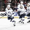 Yanni Gourde celebrates his goal with teammates. | Photo: Tampa Bay Lightning on Twitter