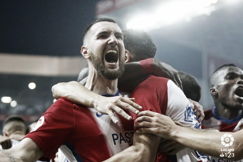 Peybernes celebra un gol la campaña pasada con el Lugo. Fuente: CD Lugo