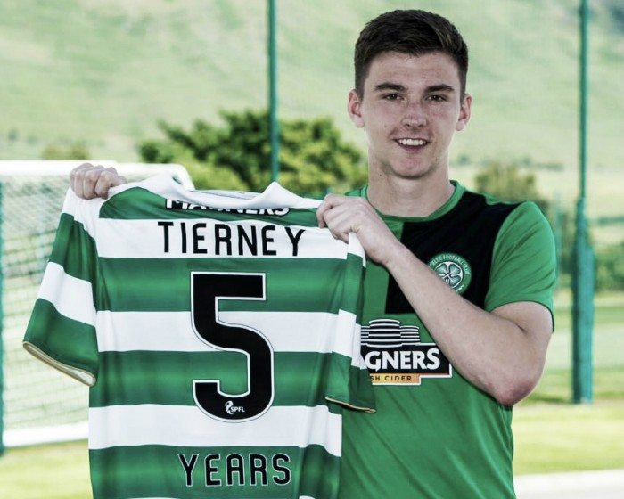 Jovem lateral escocês Kieran Tierney renova por cinco anos com Celtic