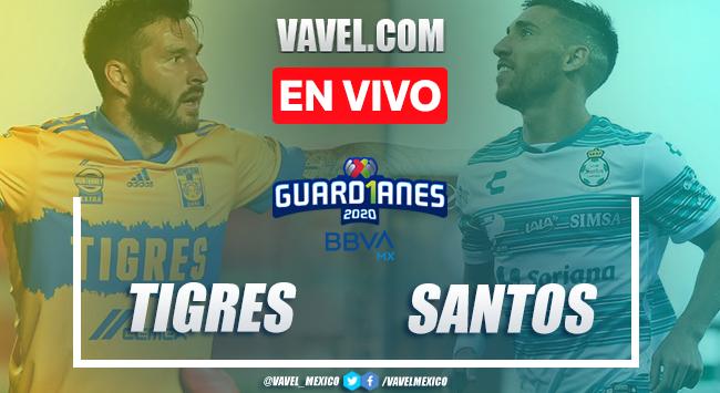 Resumen y Goles del partido Tigres 2-0 Santos en el Guard1anes 2020