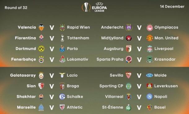 Ligue europa les r sultats du tirage au sort des 16e de finale - Resultat coupe europa league ...