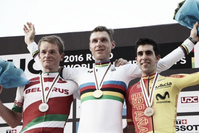 Doha 2016, Tony Martin ancora campione a cronometro. Sul podio Kiryenka e Castroviejo