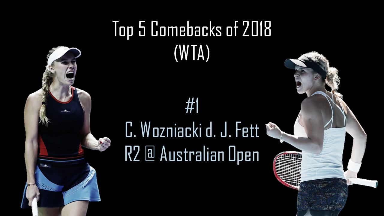 WTA Top 5 Comebacks of 2018: #1 Caroline Wozniacki survives huge scare against Jana Fett under Melbourne heat