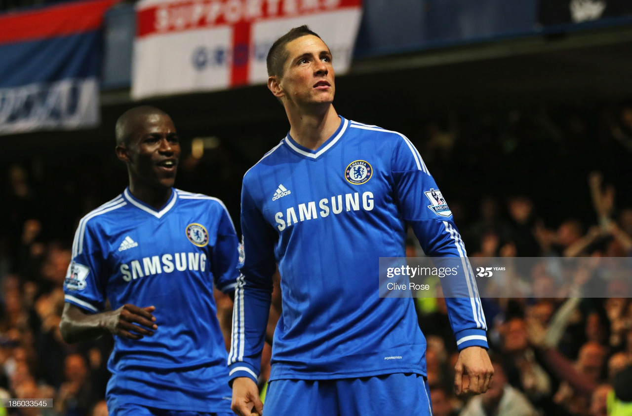 Fernando Torres of Chelsea celebrates scoring their second goal with Ramires of Chelsea during the Barclays Premier League match between Chelsea and Manchester City at Stamford Bridge on October 27, 2013 in London, England. (Photo by Clive Rose/Getty Images)