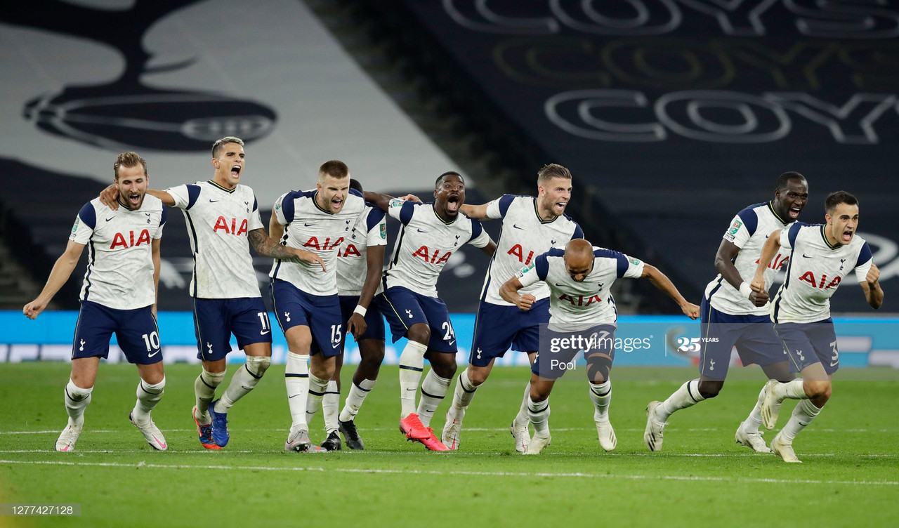 LONDON, ENGLAND - SEPTEMBER 29: Tottenham Hotspur players celebrate following their team's victory in in the penalty shoot out and therefore winning during the Carabao Cup fourth round match between Tottenham Hotspur and Chelsea at Tottenham Hotspur Stadium on September 29, 2020 in London, England. Football Stadiums around United Kingdom remain empty due to the Coronavirus Pandemic as Government social distancing laws prohibit fans inside venues resulting in fixtures being played behind closed doors. (Photo by Matt Dunham - Pool/Getty Images)