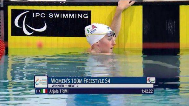 Nuoto paralimpico, Arjola Trimi subito d'oro