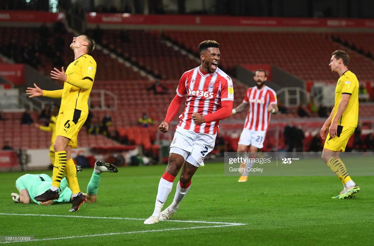 Tyrese Campbell celebrating his goal during Stoke City's 2-2 draw against Barnsley at the Bet365 Stadium (Photo by Gareth Copley/Getty Images).