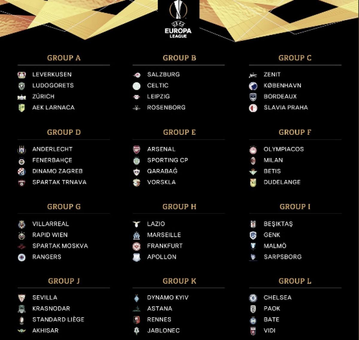 Los rivales de la Europa League son el Krasnodar, Standard Lieja y Akhisarspor