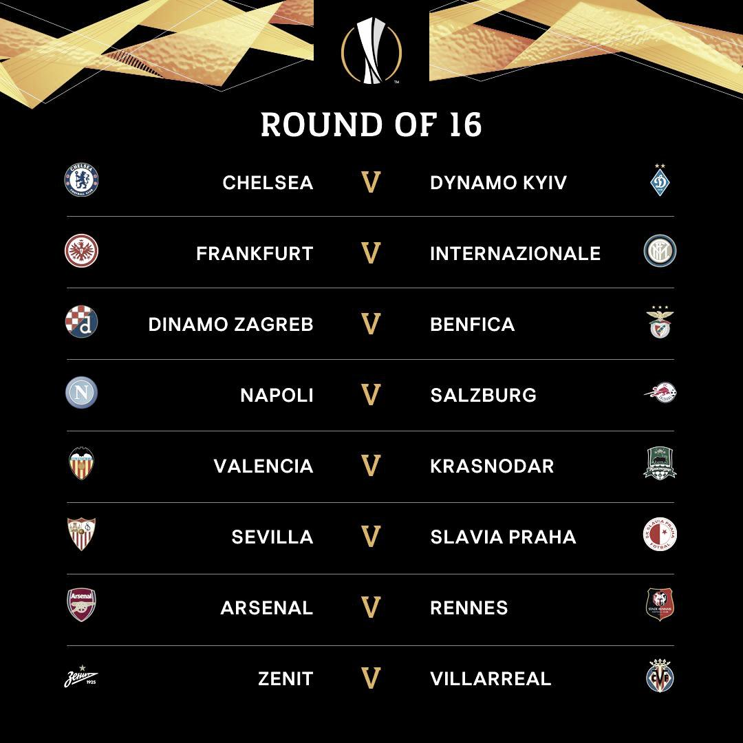 Com destaque para Frankfurt x Internazionale, oitavas da Europa League são sorteadas