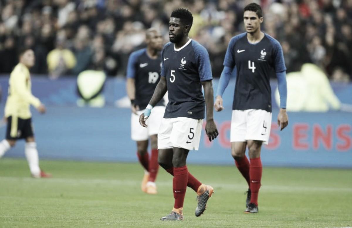 Umtiti critica postura da França após derrota de virada para Colômbia