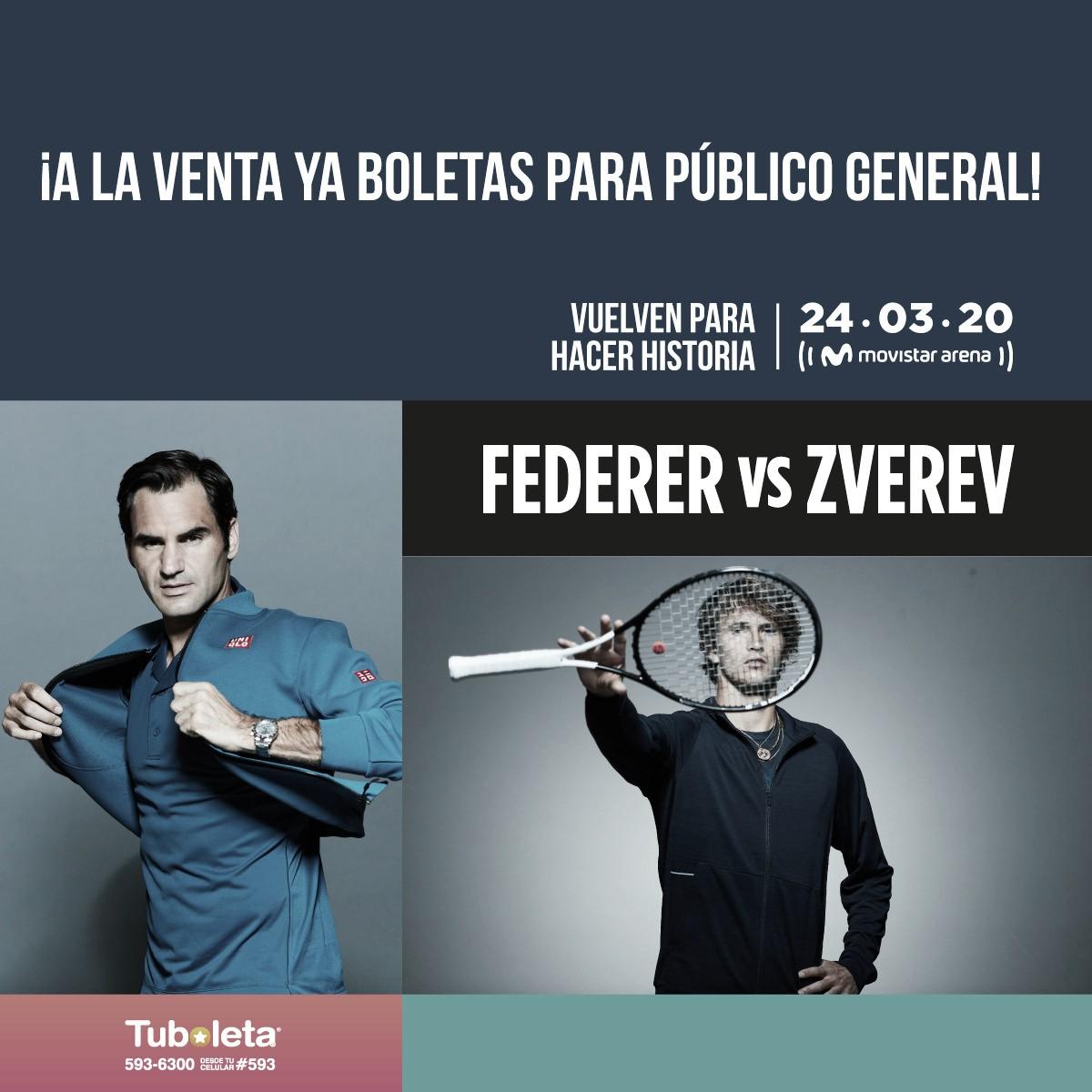 Ya están a la venta las boletas para el esperado partido Federer vs. Zverev