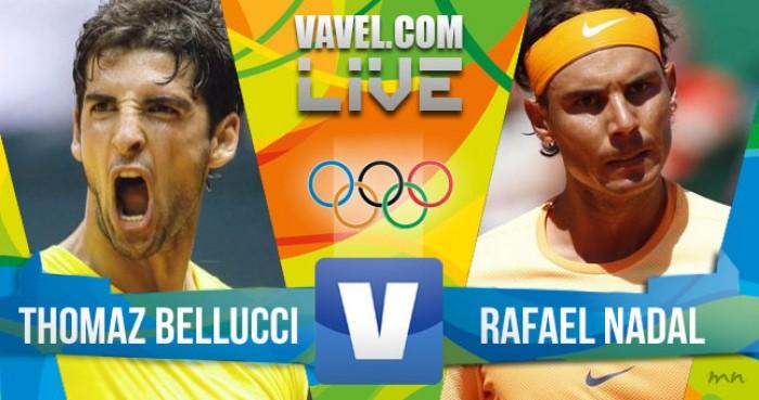 Resultado Thomaz Bellucci x Rafael Nadal no tênis masculino dos Jogos Olímpicos 2016 (1-2)