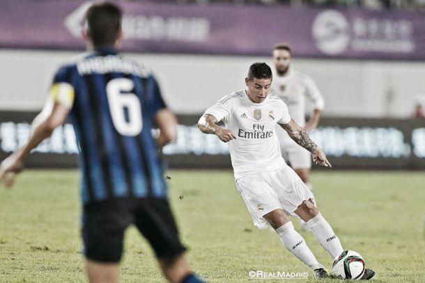 James marcó en la victoria del Real Madrid ante el Inter de Milán