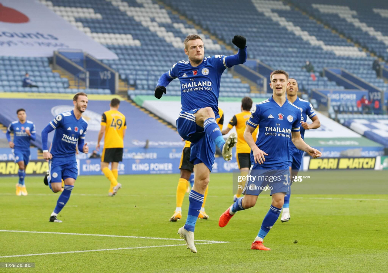 Jamie Vardy celebrating scoring the winner for Leicester City in their victory over Wolves on the 8th November 2020(Photo by Plumb Images/Leicester City FC via Getty Images).