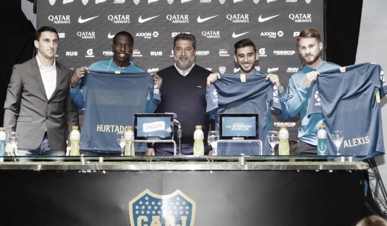 Boca presentó oficialmente a Salvio, Mac Allister y Hurtado