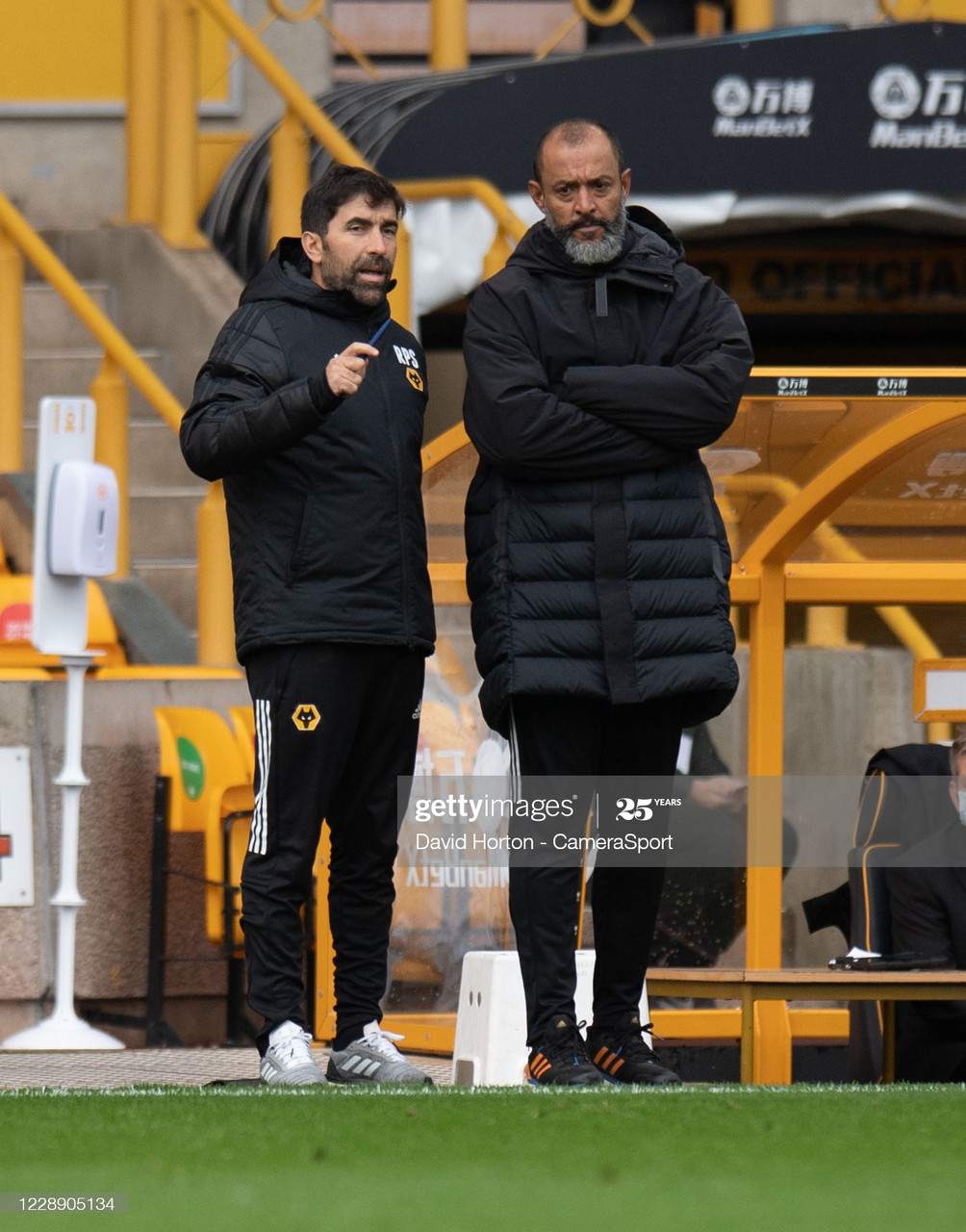 Wolves boss Nuno Espirito Santo and his assistant Rui Pedro Silva survey the action at Molineux during Wolves' defeat of Fulham on October 4 | Photo by David Horton - CameraSport/Getty Images.