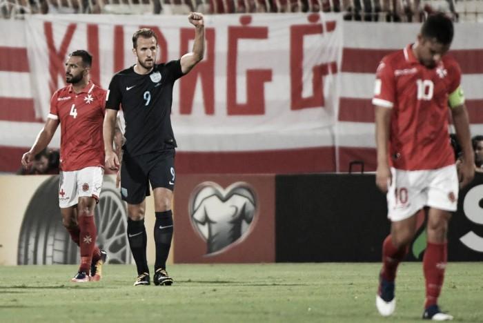 Inglaterra desencanta no fim e goleia Malta pelas Eliminatórias à Copa