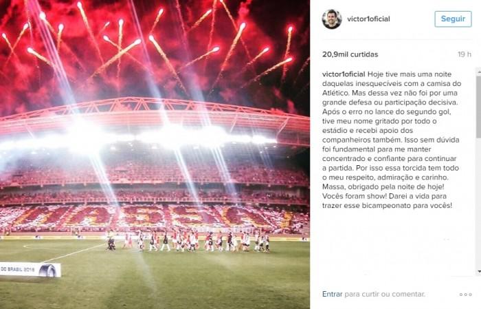 Goleiro Victor faz post emocionado para torcida após falha em gol do Internacional