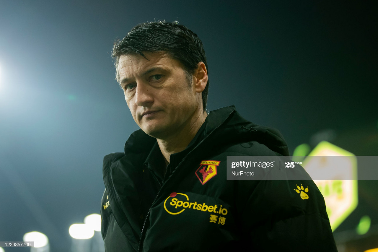 Watford Manager Vladimir Ivic during the Sky Bet Championship match between Watford and Preston North End at Vicarage Road, Watford, England on 28th November 2020. (Photo by Leila Coker/MI News/NurPhoto via Getty Images)