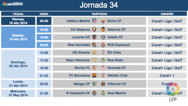 Horarios y árbitros de la jornada 34 de Liga BBVA - VAVEL.com