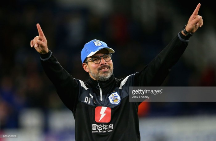 Huddersfield Town boss David Wagner celebrates two years with the club