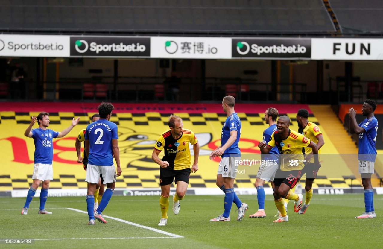 Leicester had to settle for a draw with Watford after an entertaining finale at Vicarage Road | Photo by Getty Images/Pool