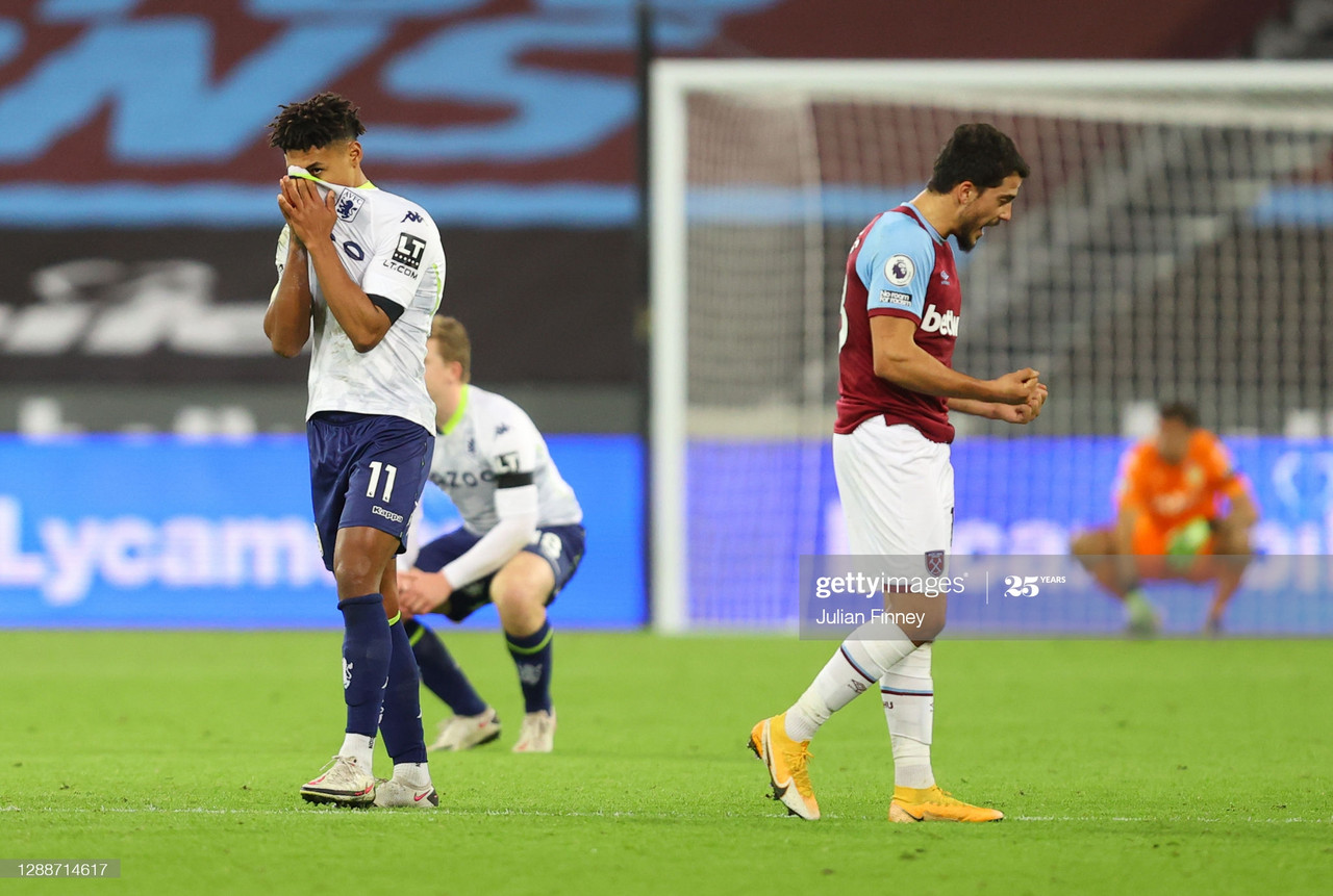 LONDON, ENGLAND - NOVEMBER 30: Ollie Watkins of Aston Villa reacts after VAR rules his goal offside during the Premier League match between West Ham United and Aston Villa at London Stadium on November 30, 2020 in London, England. Sporting stadiums around the UK remain under strict restrictions due to the Coronavirus Pandemic as Government social distancing laws prohibit fans inside venues resulting in games being played behind closed doors. (Photo by Julian Finney/Getty Images)