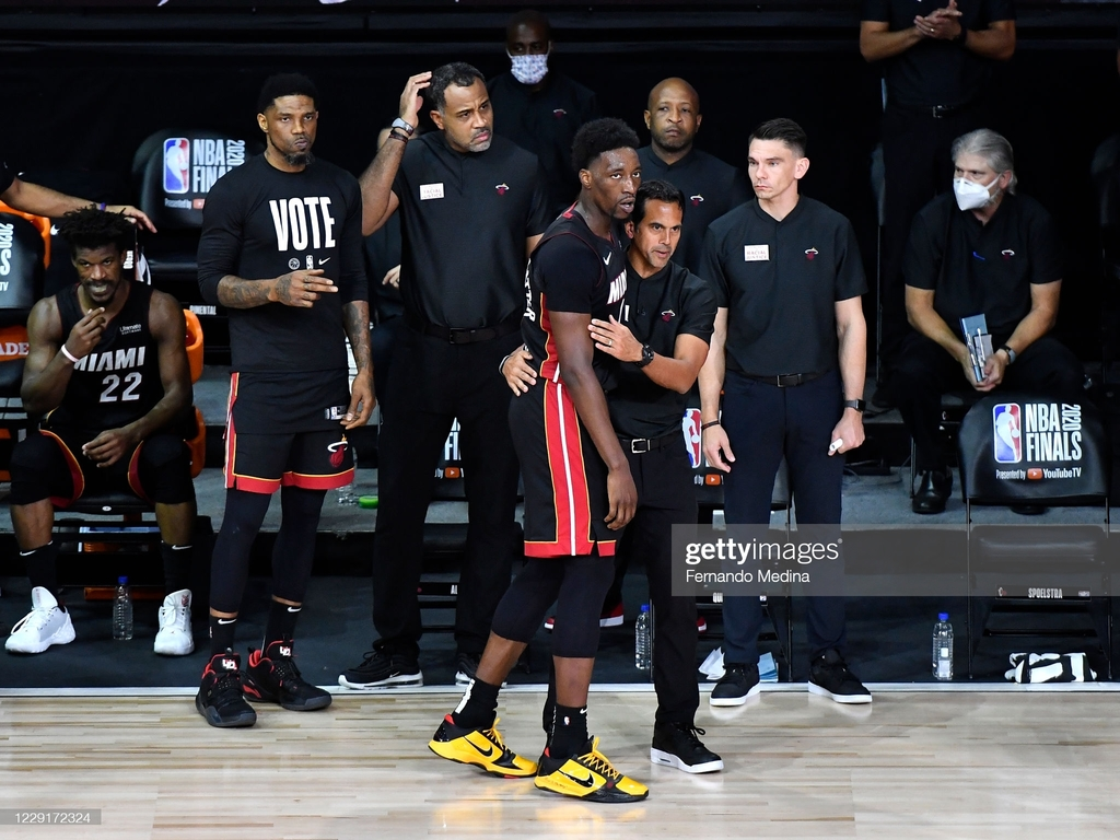 <div>ORLANDO, FL - OCTOBER 11: Bam Adebayo #13 of the Miami Heat and Head Coach Erik Spoelstra of the Miami Heat talk during Game Six of the NBA Finals on October 11, 2020 in Orlando, Florida at AdventHealth Arena. NOTE TO USER: User expressly acknowledges and agrees that, by downloading and/or using this Photograph, user is consenting to the terms and conditions of the Getty Images License Agreement. Mandatory Copyright Notice: Copyright 2020 NBAE (Photo by Fernando Medina/NBAE via Getty Images)</div><div><br></div>