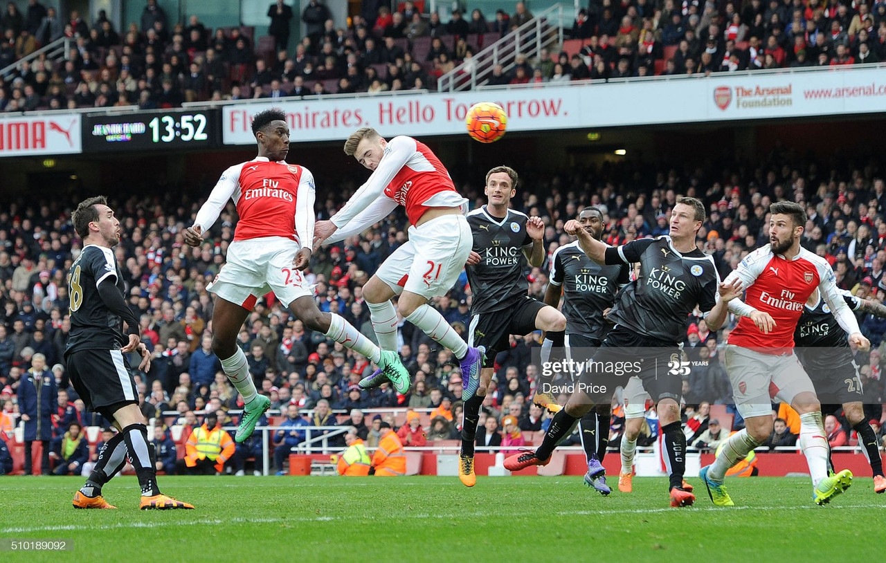 LONDON, ENGLAND - FEBRUARY 14: Danny Welbeck (far left) scores Arsenal's 2nd goal during the Barclays Premier League match between Arsenal and Leicester City at Emirates Stadium on February 14th, 2016 in London, England (Photo by David Price/Arsenal FC via Getty Images)