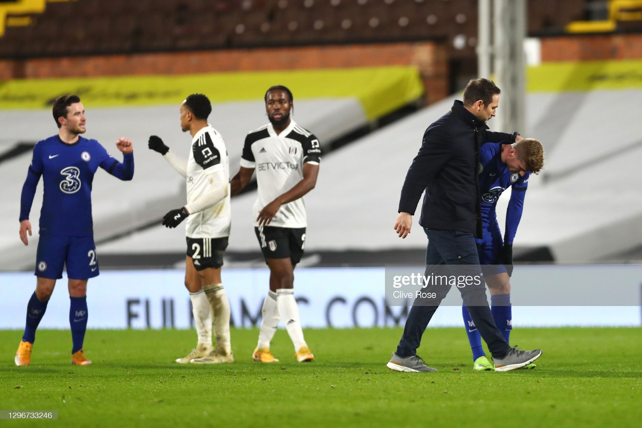LONDON, ENGLAND - JANUARY 16: Frank Lampard, Manager of Chelsea interacts with Timo Werner of Chelsea after Premier League match between Fulham and Chelsea at Craven Cottage on January 16, 2021 in London, England. Sporting stadiums around England remain under strict restrictions due to the Coronavirus Pandemic as Government social distancing laws prohibit fans inside venues resulting in games being played behind closed doors. (Photo by Clive Rose/Getty Images)