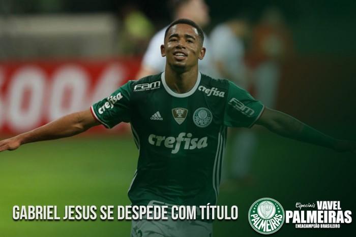 #PartiuInglaterra: Gabriel Jesus se despede do Palmeiras com título brasileiro