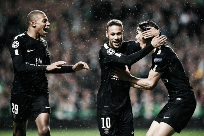 Cavani, Mbappé e Neymar marcam pelo segundo jogo seguido e PSG goleia Celtic na UCL