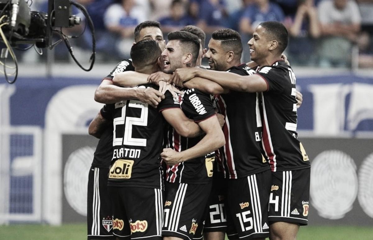 """Autor do primeiro gol, Diego Souza exalta elenco do São Paulo: """"Brasileiro se ganha com grupo"""""""