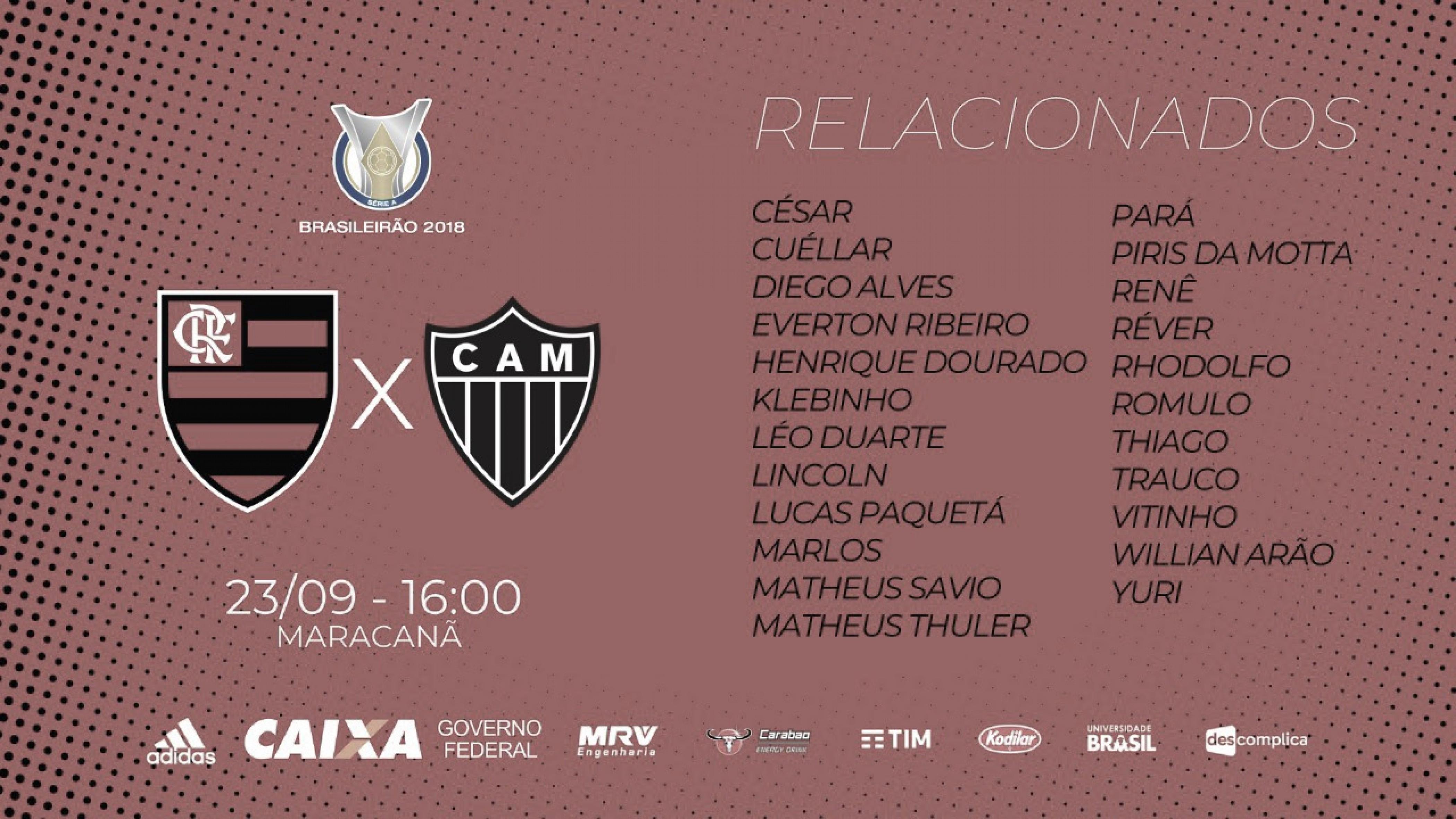 Flamengo divulga lista de relacionados para o jogo contra o Atlético MG
