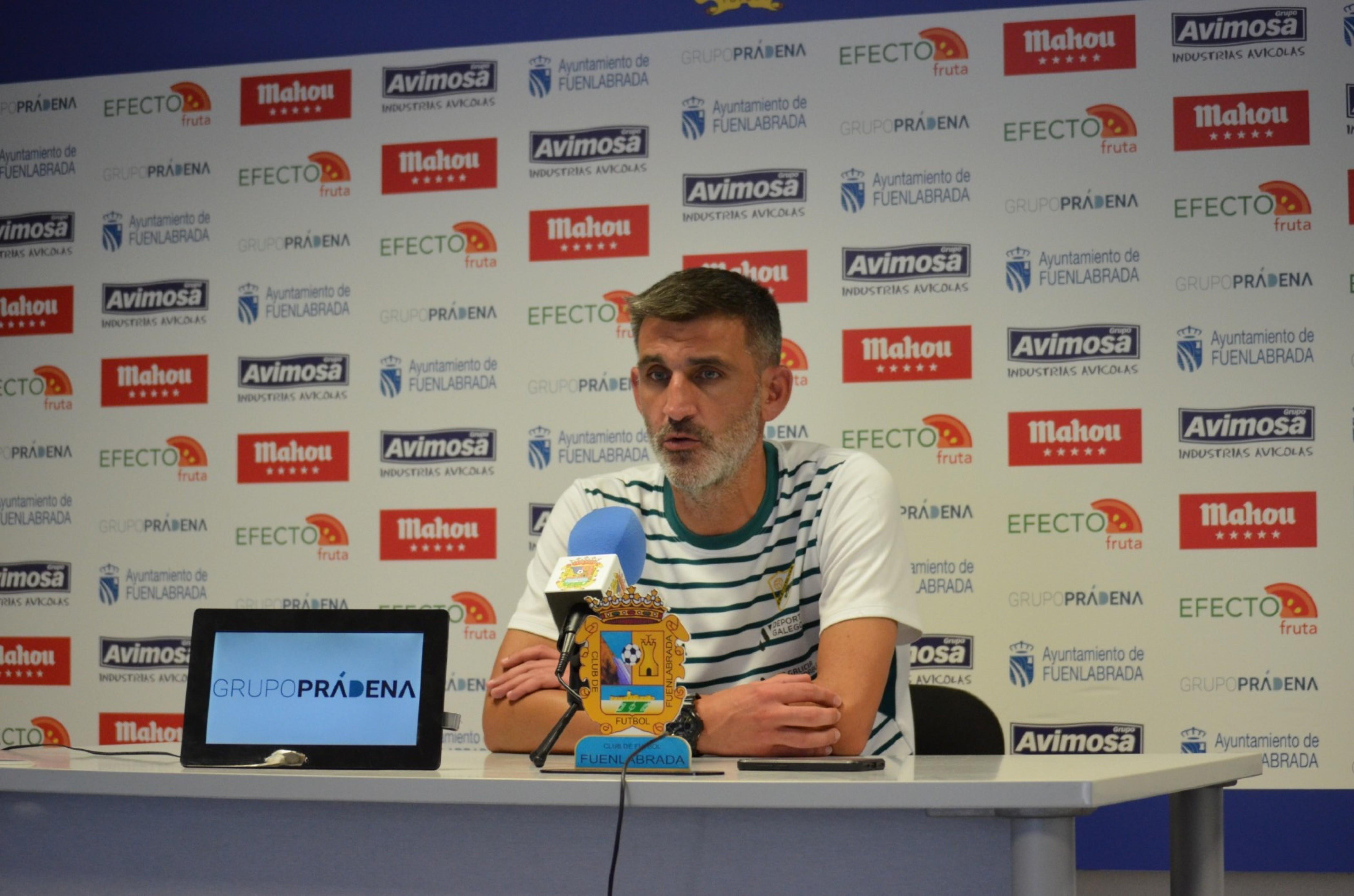 Jacobo Montes en la rueda de prensa posterior al partido frente al Fuenlabrada / Foto: Diego López