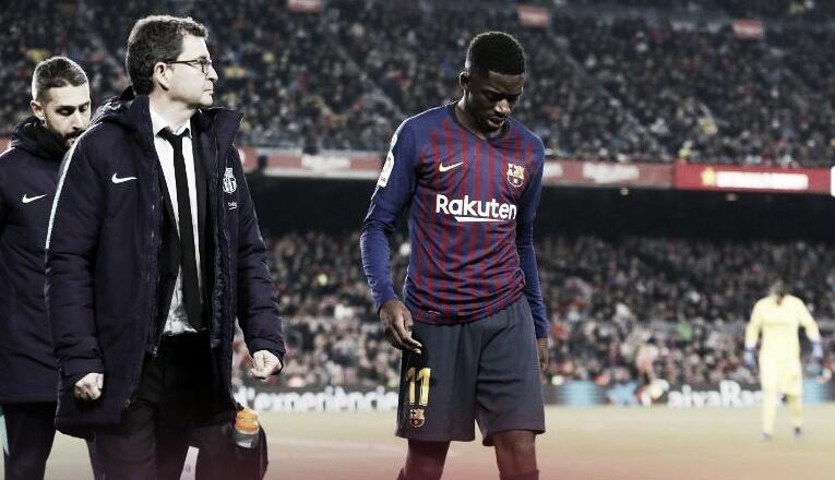 Barcelona confirma lesão de Dembélé que ficará duas semanas em recuperação