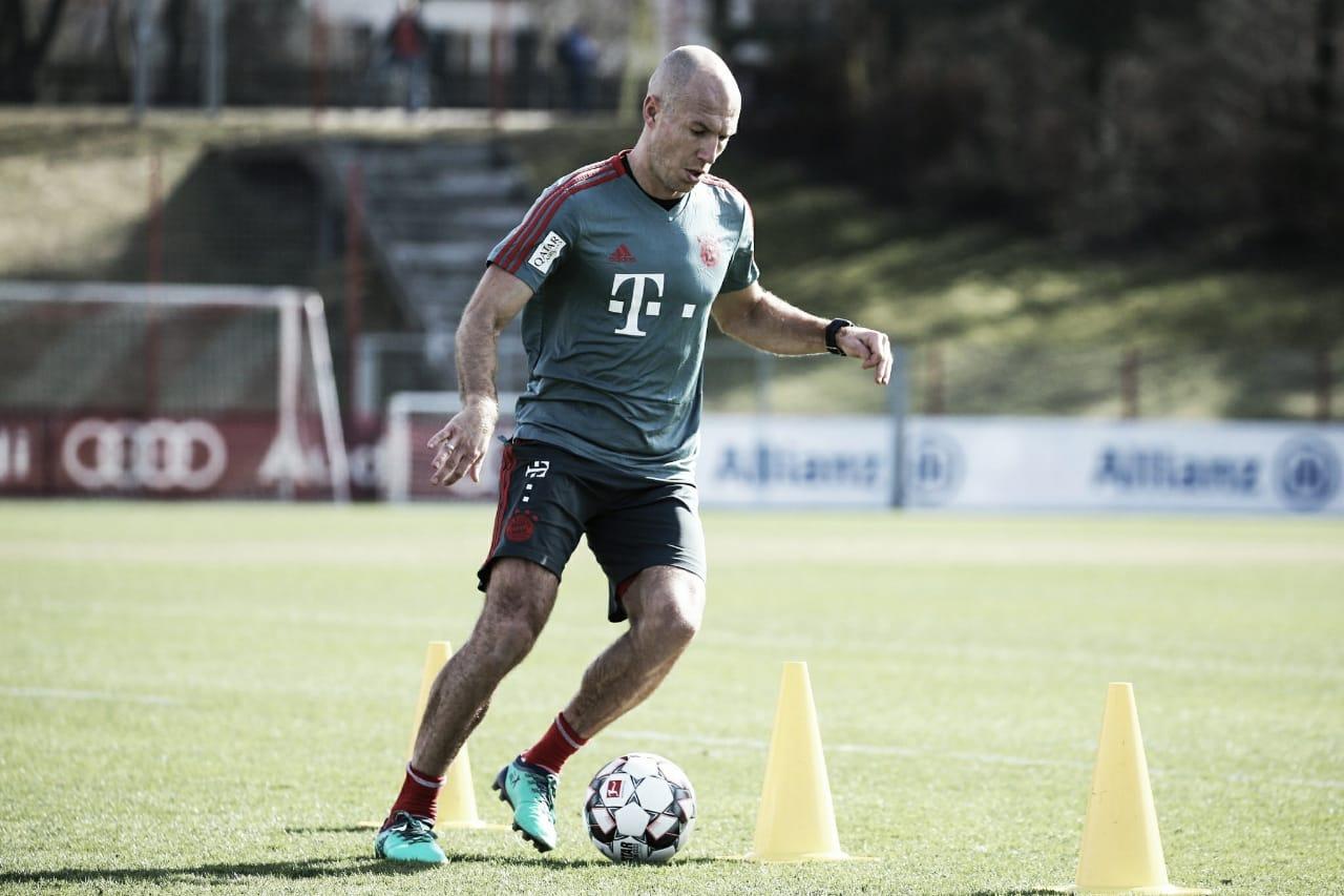Robben avança em recuperação para jogo de volta contra o Liverpool, pela Champions