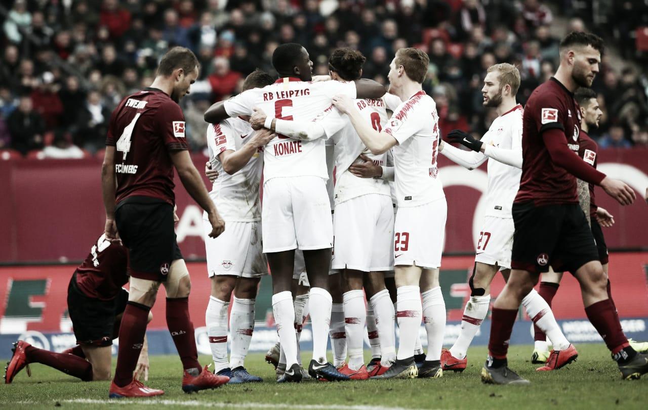 RB Leipzig domina e vence lanternaNürnberg na Bundesliga
