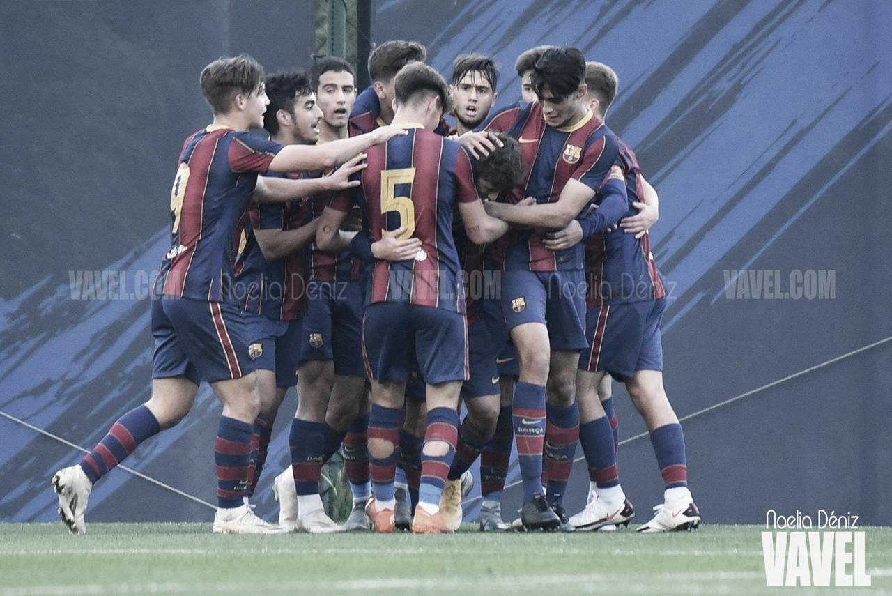 El FCB Juvenil A celebrando el gol ante el RCD Mallorca. Foto: Noelia Déniz, VAVEL