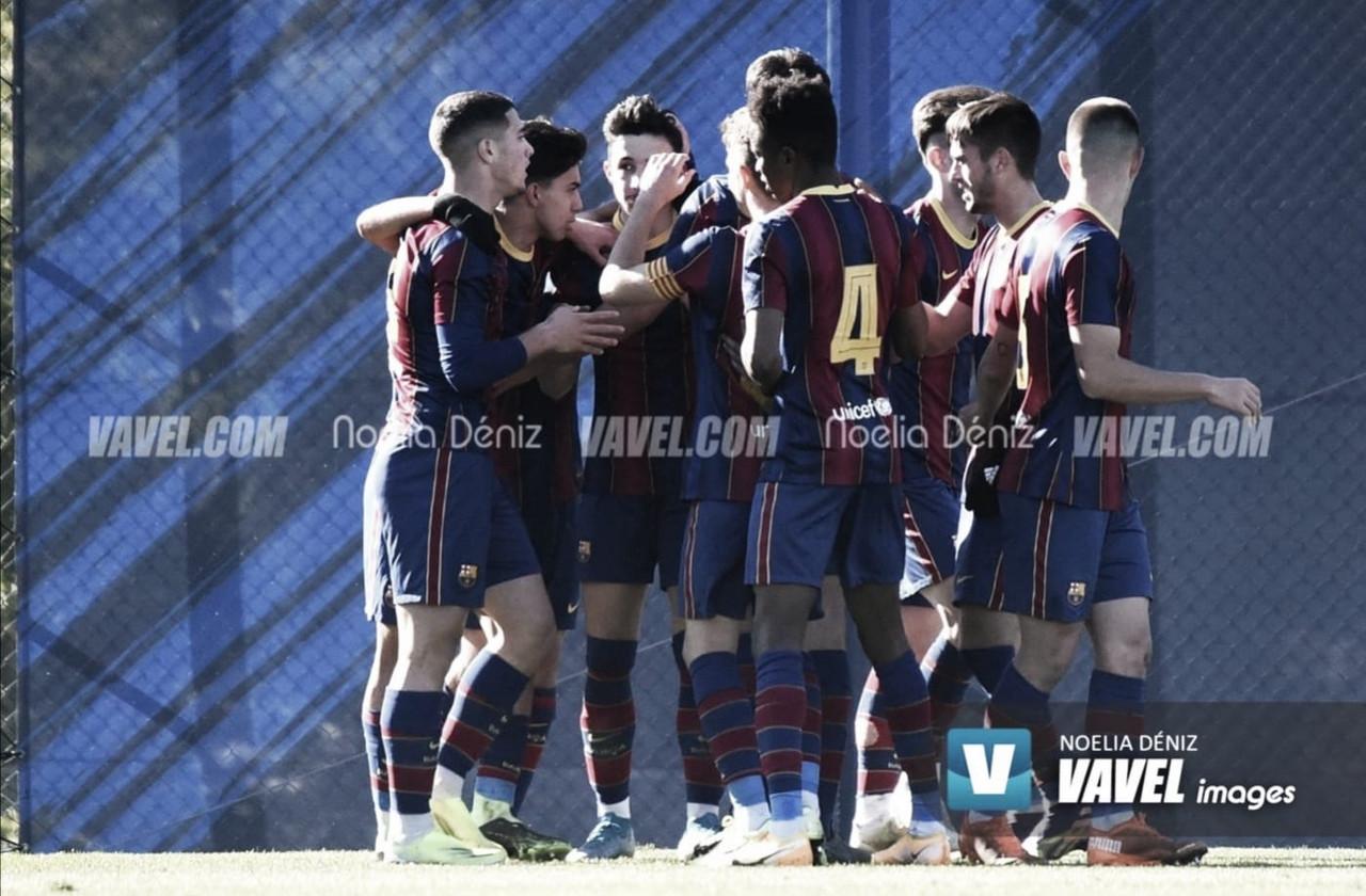 El FCB Juvenil A celebrando un tanto esta temporada. Foto: Noelia Déniz, VAVEL