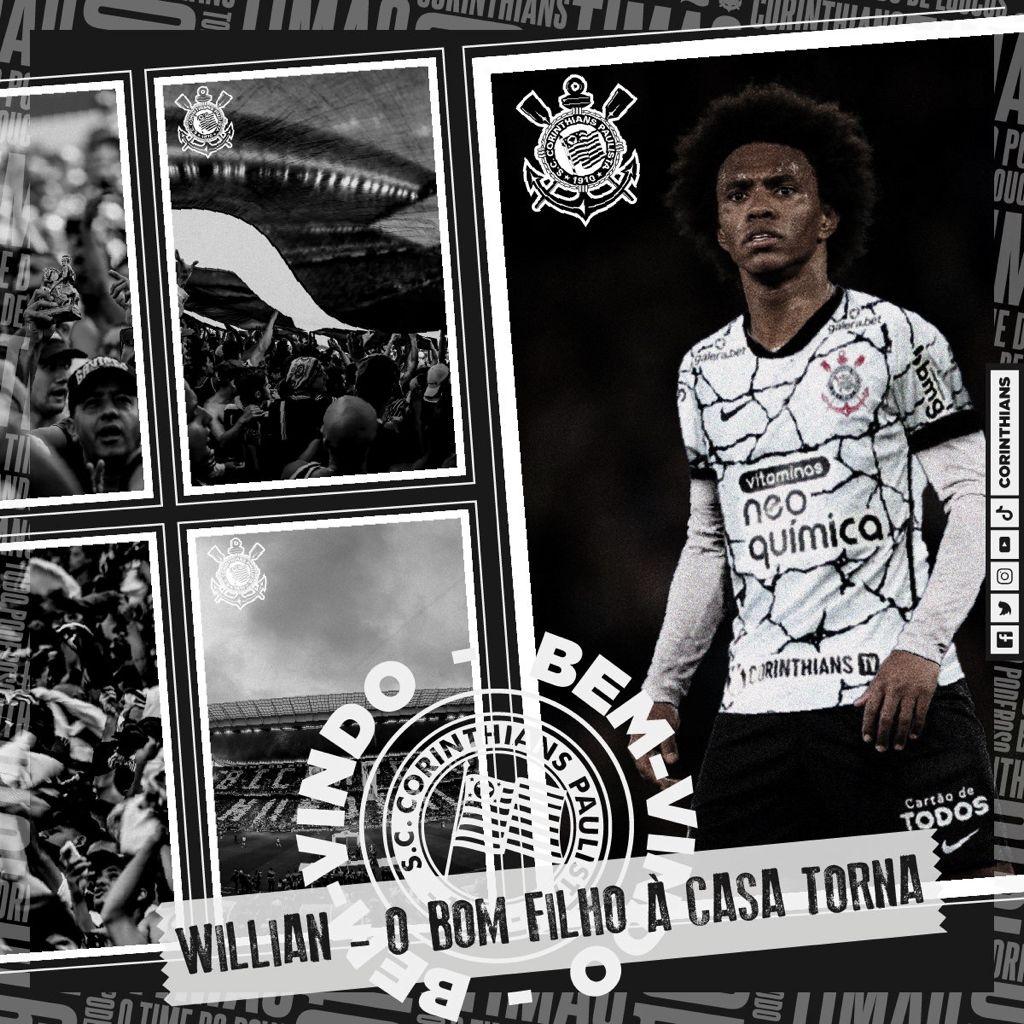 Confirmado: Corinthians anuncia chegada de Willian