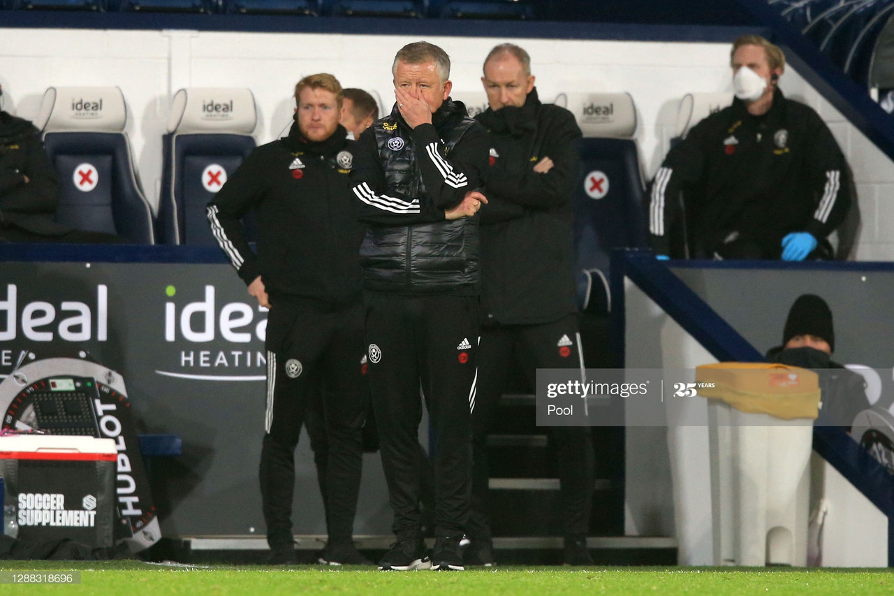 Chris Wilder, Manager of Sheffield United reacts during the Premier League match between West Bromwich Albion and Sheffield United at The Hawthorns on November 28, 2020, in West Bromwich, England. (Photo by Lindsey Parnaby - Pool/Getty Images)