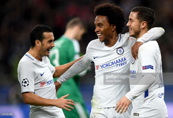 Hazard, Willian shine as Chelsea cruise into last 16