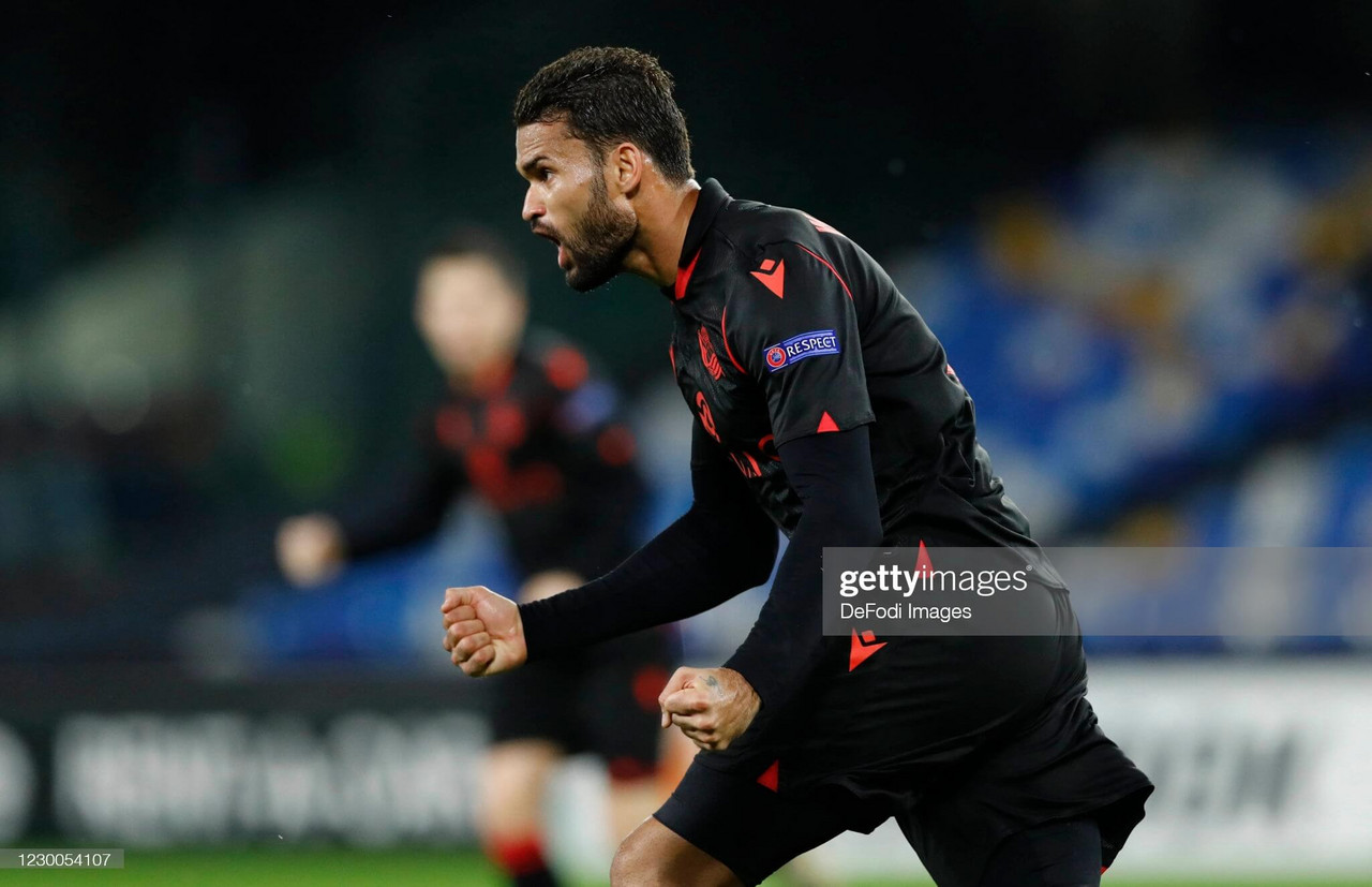 Willian Jose celebrates after scoring a stoppage time equaliser against Napoli in this year's Europa League group stage. (Photo by Matteo Ciambelli/DeFodi Images via Getty Images)