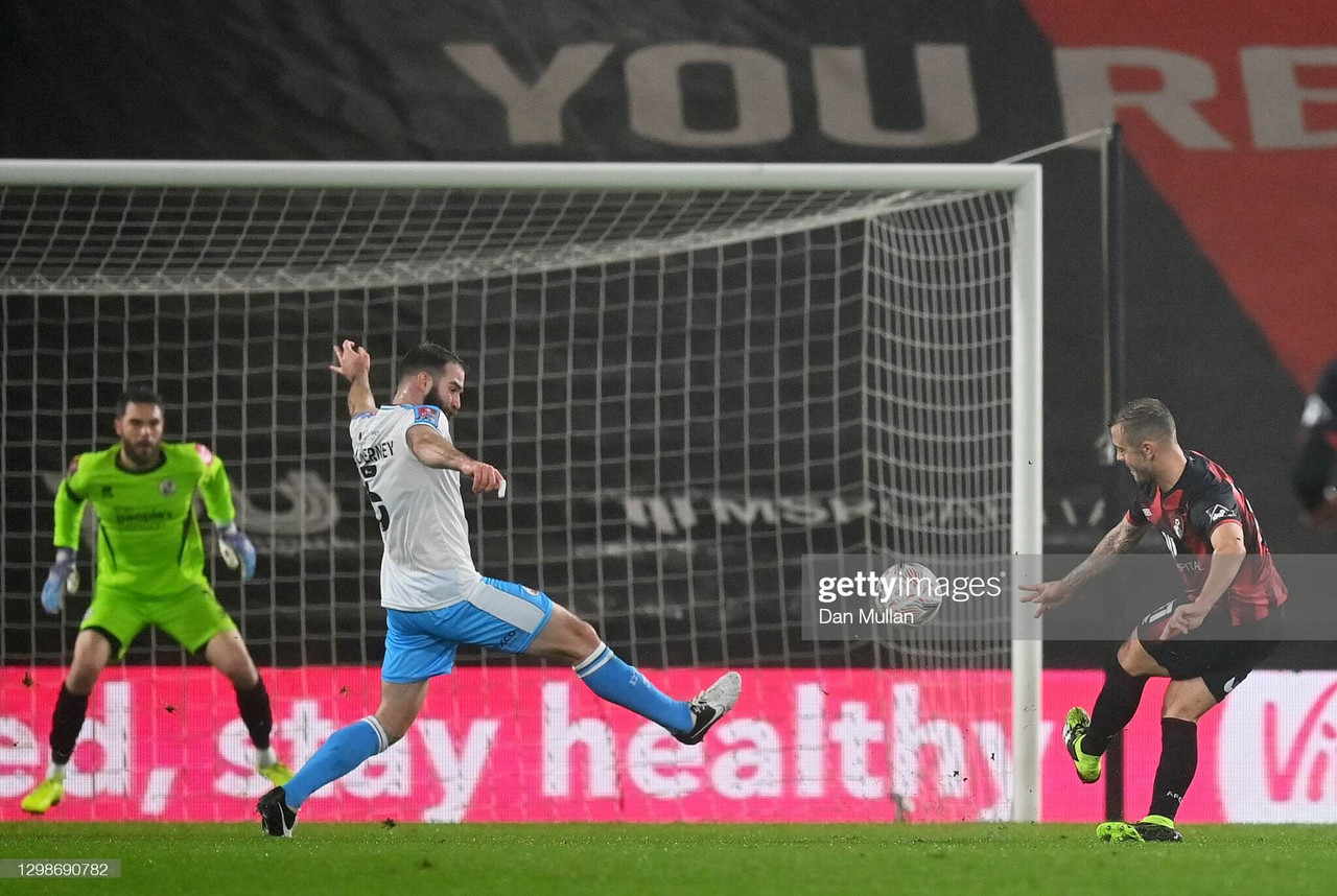 ack Wilshere of AFC Bournemouth scores their team's first goal during The Emirates FA Cup Fourth Round match between AFC Bournemouth and Crawley Town at Vitality Stadium Photo by Dan Mullan/Getty Images)