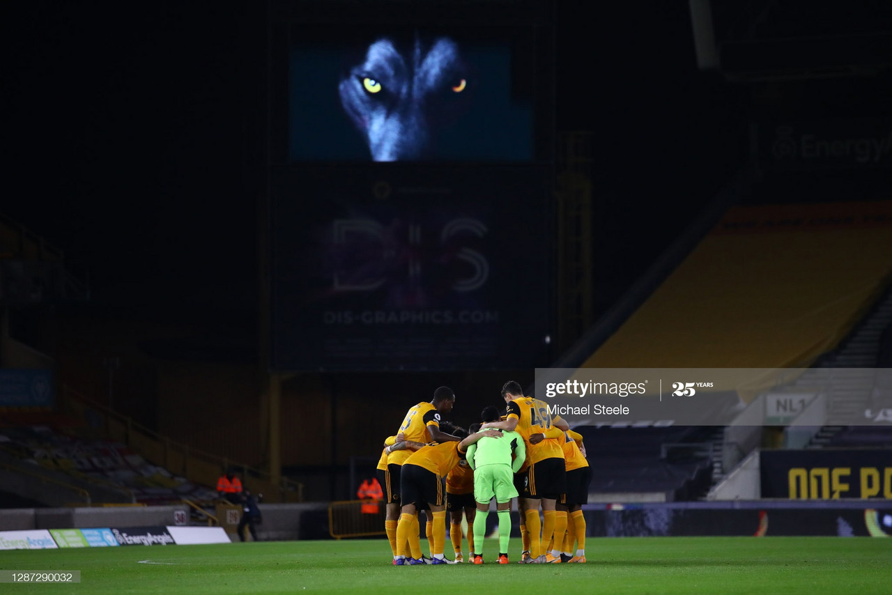 The Wolverhampton Wanderers team create a huddle prior to the Premier League match between Wolverhampton Wanderers and Southampton at Molineux on November 23, 2020, in Wolverhampton, England. (Photo by Michael Steele/Getty Images)