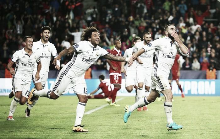 Real Madrid empata nos acréscimos, vira com golaço de Carvajal e conquista Supercopa da Uefa contra Sevilla